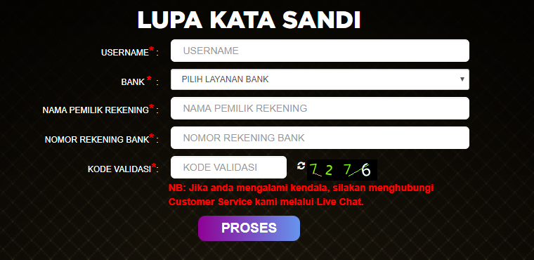 Menu Lupa Password Jayagaming