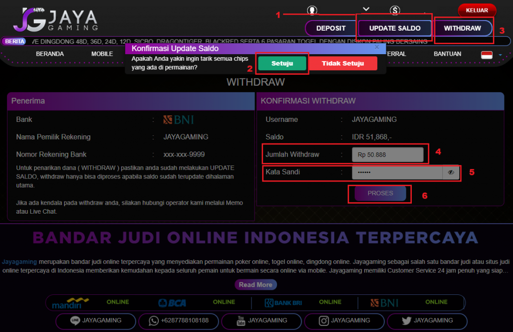 MENU WITHDRAW DI JAYAGAMING