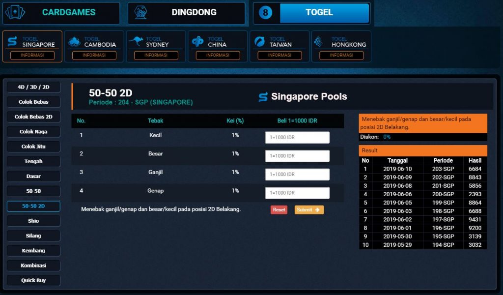 Panel Betting Togel 50-50 2D
